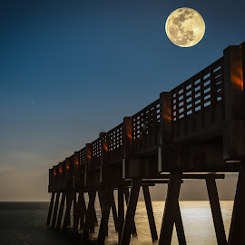 Super snow moon over Vero Beach by Jerry Burkard - Buildings & Architecture Bridges & Suspended Structures