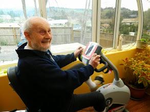 Photo: Joe on the exercycle