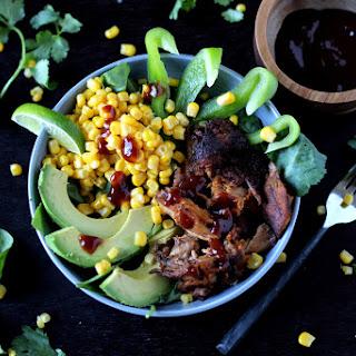Barbecue Pork Salad with Cilantro, Corn and Avocado.