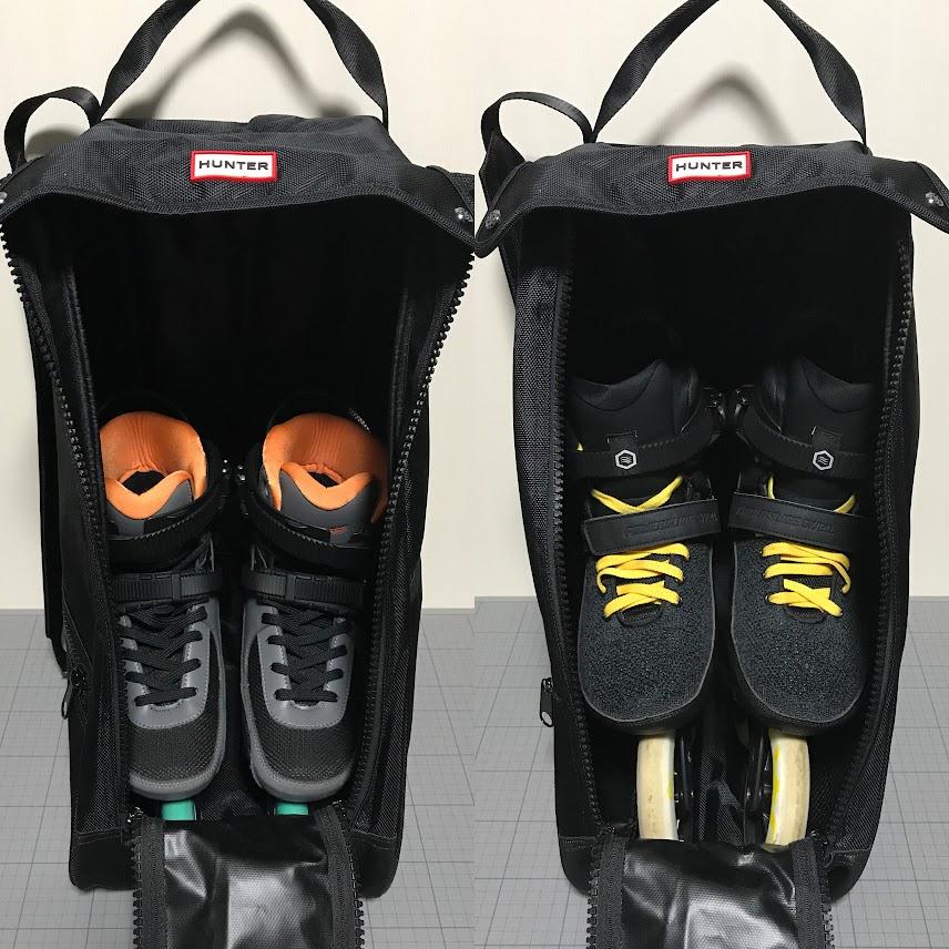 バッグに26.0cm程度のブーツを入れた状態