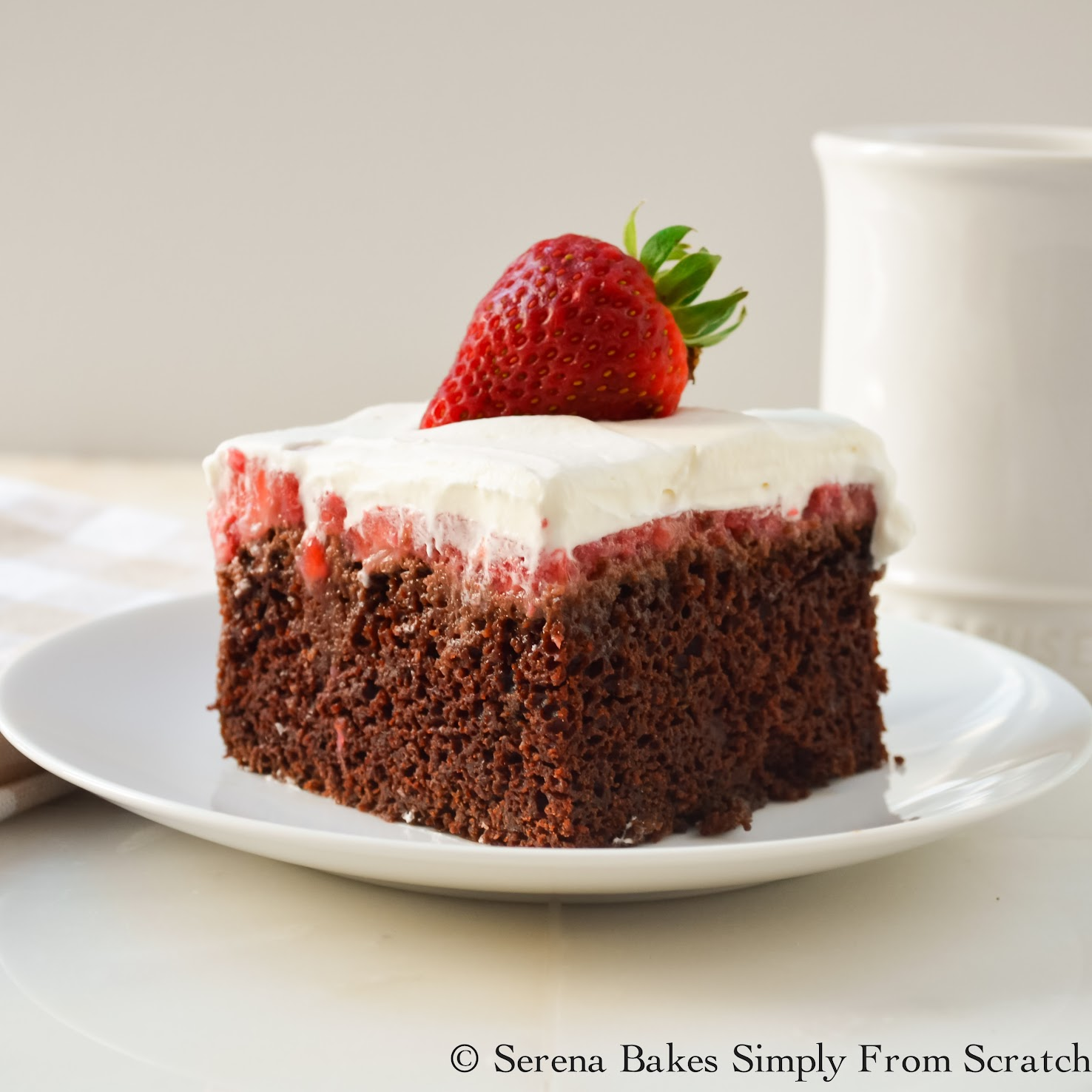 Chocolate Strawberry Poke Cake