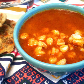 New Mexican Posole Rojo With Freshly Ground Chile Powder.