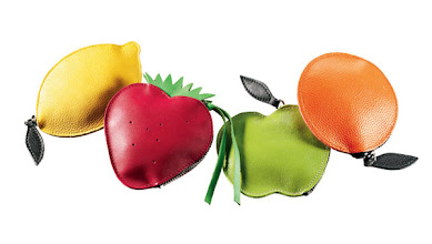 Photo: PAPOUTSI Exclusively ours. Leather change purses in assorted fruit shapes. Lemon, strawberry, apple and orange. $35. Germany. Seventh Floor. 212 872 2686