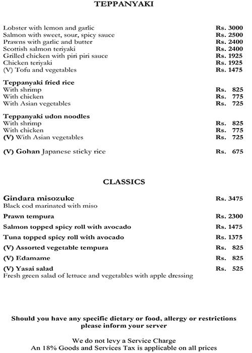 Threesixtyone Degrees, The Oberoi menu 15