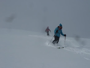 Photo: Louise and Suzanne skiing an excellent Cairn!