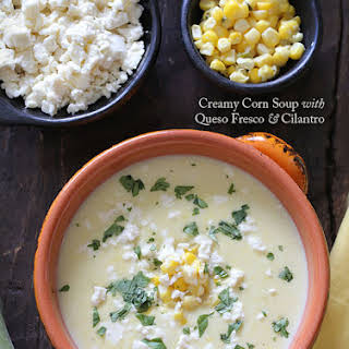 Creamy Corn Soup with Queso Fresco and Cilantro.