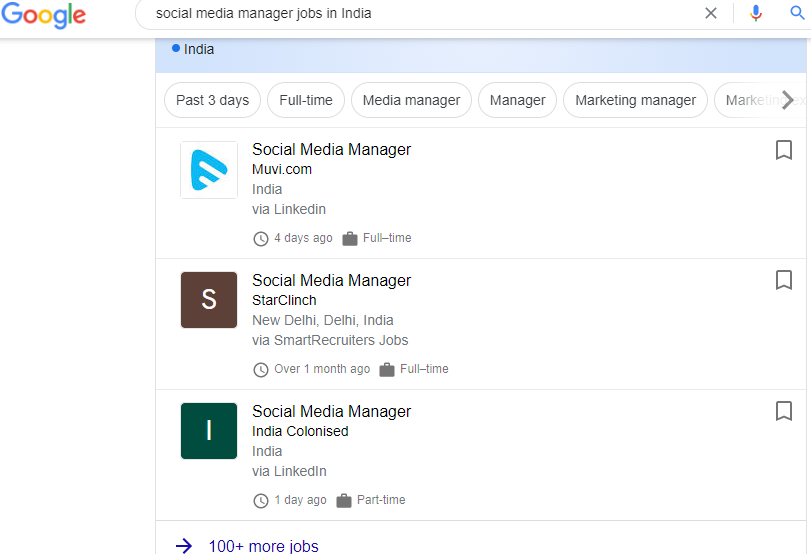 example of social media manager jobs in India.