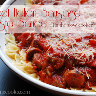 Sweet Italian Sausage Pasta Sauce in the Slow Cooker.