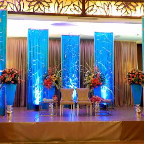Blue by Sharmila Narwani - Wedding Reception ( color, blue, wedding, seats, flowers, mood factory, lighting, moods, colorful, light, bulbs, mood-lites )
