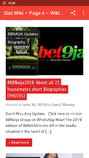 BBNaija Live Updates App Report on Mobile Action - App Store
