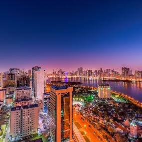 Sharjah Lagoune by Ashraf Jandali - City,  Street & Park  Skylines ( water, lagoune, sunset, uae, sea, view, sharjah, city )