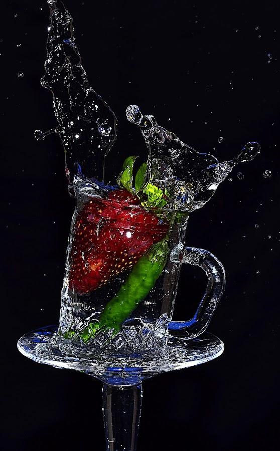 strawchili by Angelo Jadulco - Food & Drink Fruits & Vegetables ( water, splash, glass, strawberry, chili )