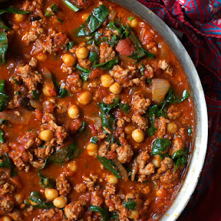 Moroccan Turkey Ragù with Chickpeas and Spinach.
