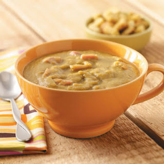 Slow Cooker Split Pea Soup with Carrots and Ham Hocks.