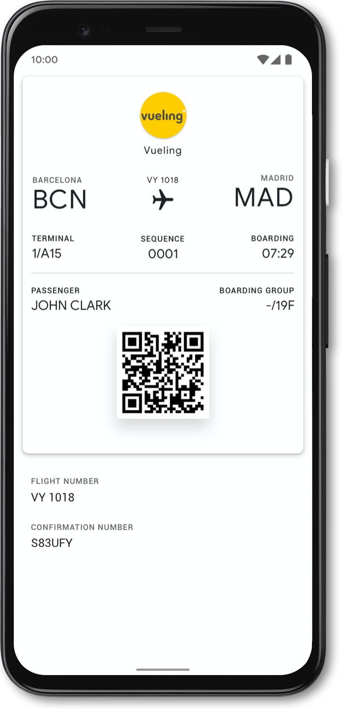 Google Pay App Sample Interface 2: Google Pay Southwest airlines ticket
