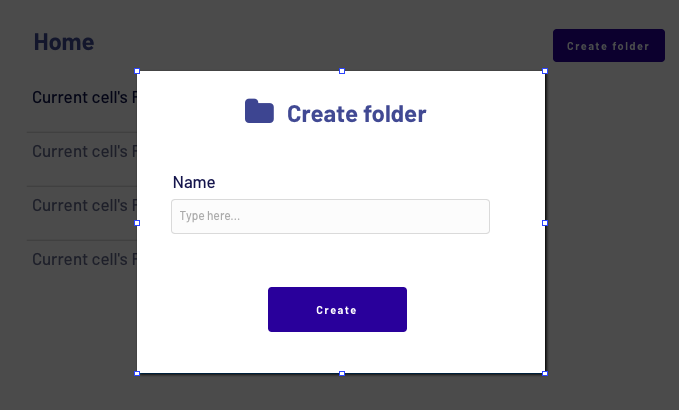 No-code Dropbox clone popup element creating a new folder