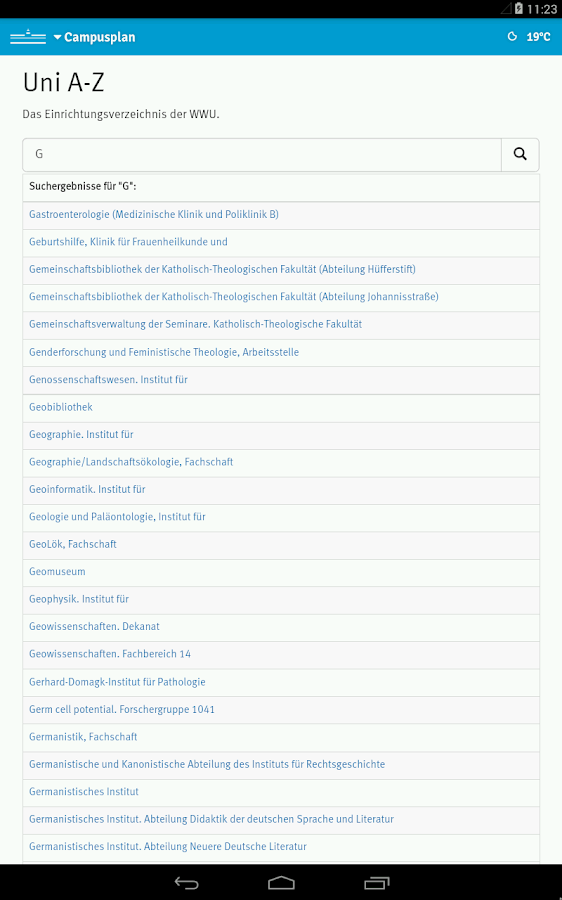 WWU Campusplan – Screenshot