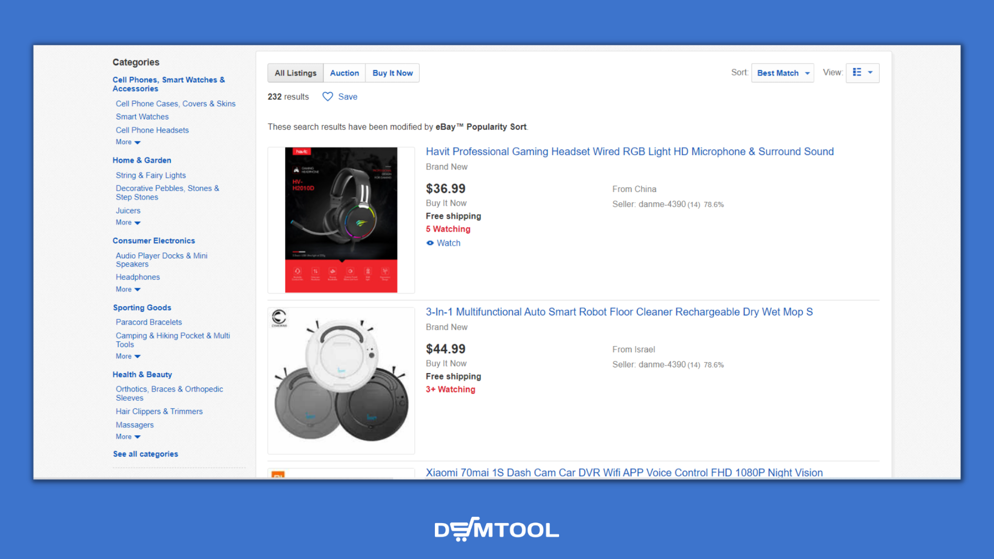 eBay products sorted by eBay Popularity Sort extension