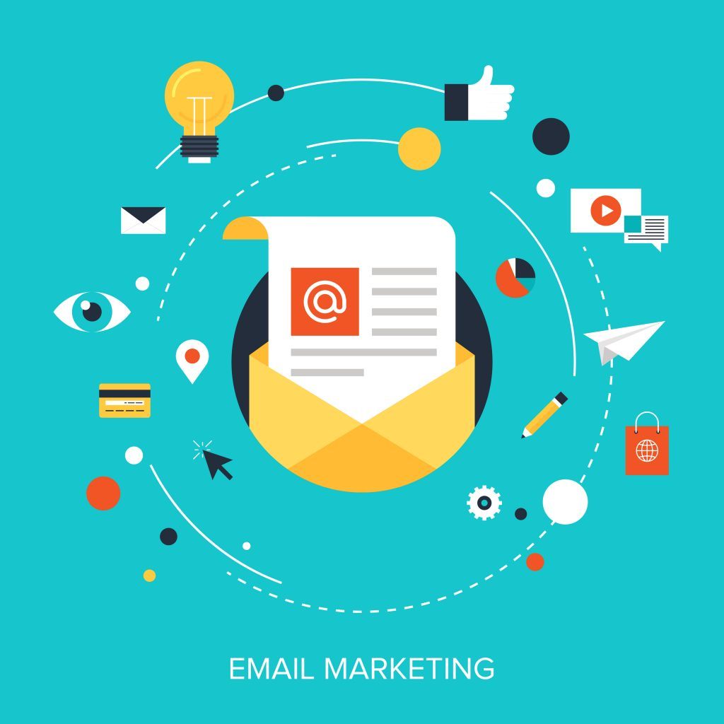 vector illustration of email marketing as a way to promote a blog
