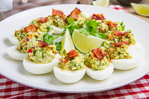 """Bacon Guacamole Deviled Eggs""""Deviled eggs never had it so good stuffed with..."""