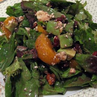 Cranberry, Glazed Walnut, Orange, Avocado and Blue Cheese Salad.