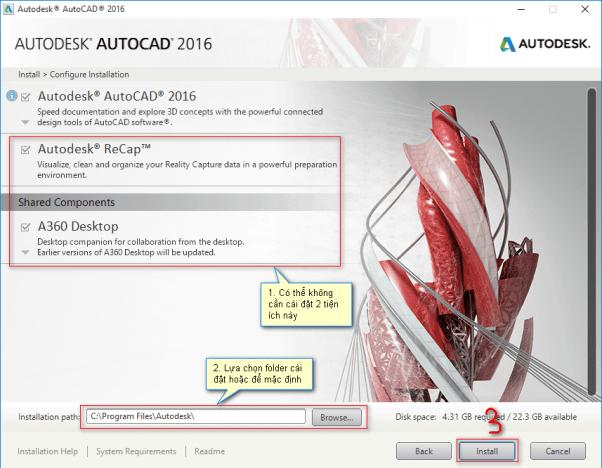 hướng dẫn cài đặt autocad 2016