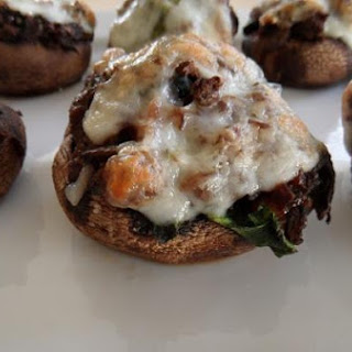 Meat & Spinach-Stuffed Portabella Mushrooms with Goat Cheese.
