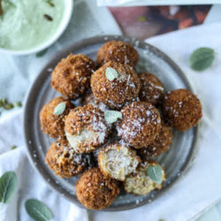 Bacon Butternut Arancini with Pumpkin Seed Pesto Dip