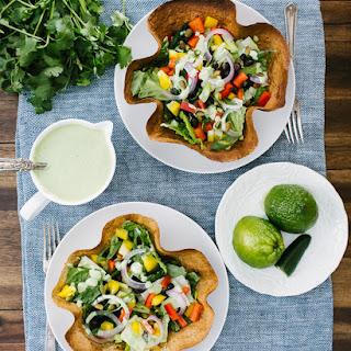 Tortilla Bowls with Green Goddess Dressing