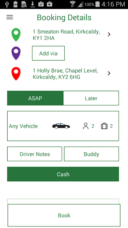 Eco Friendly Taxis Booking App- screenshot