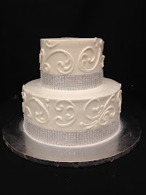 Photo: 2-tier side cake matching elegant 3-tier.