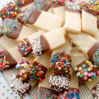 Chocolate Dipped Shortbread Cookies.