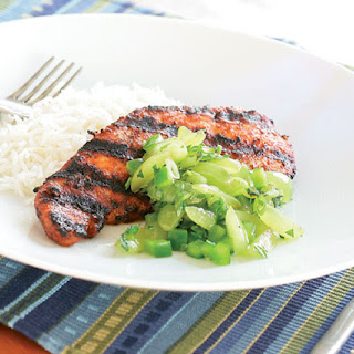 Southwestern Grilled Pork, Chicken or Turkey with Green Grape Salsa.