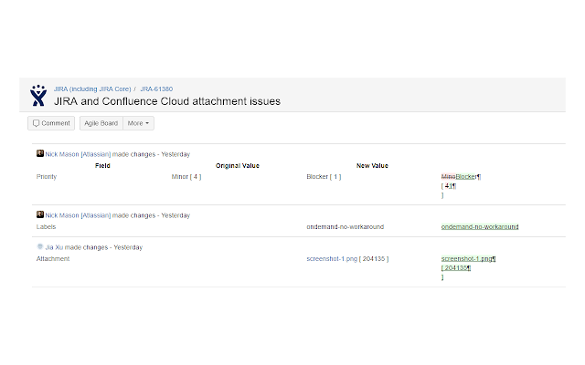 JIRA Issue Activity Diff