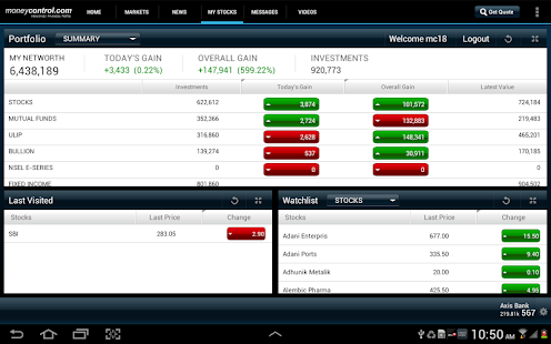 Moneycontrol Markets on Tablet- screenshot thumbnail