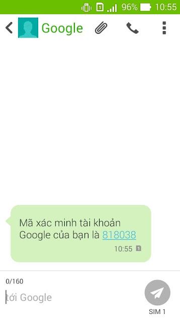 Mã (code) nhận được từ Google trên điện thoại