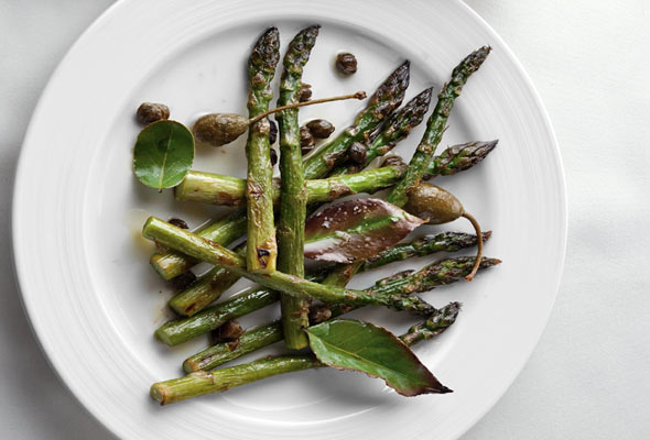 Roasted Asparagus with Bay Leaves and Capers