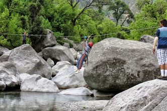 Photo: river crossing tyroleane traverse activity at camp 1