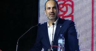 El candidato del PSOE, José Luis Amérigo, en un mitin de esta campaña.