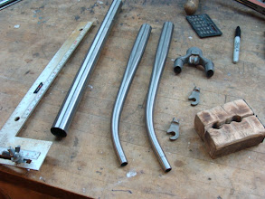 Photo: The blades are raked, I've just cut a bit off the end of the blade on the left and getting ready to do the same for the other.  The tool on the far left is used to check both the rake of the blade and the length.