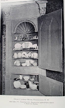 Photo: China cupboard in a house built in 1739.  I had seen china closets with shelves cut this way behind glass doors, but the first time I saw one with solid doors I was somewhat puzzled as to why they did that. Since that day I've seen countless china closets with the exact same kind of shelves and solid wood doors.  Apparently the doors were left open when company came to call and the rest of the time were shut to keep out the dust. The rounded center portions that stick out were made to show off china bowls.