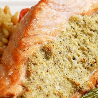 1. Cheesy Pesto Stuffed Salmon