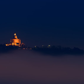 Sanctuary of the Madonna di San Luca by Roberto Melotti - Landscapes Cloud Formations ( basilica church, clouds, roberto melotti, church, blue hour, sanctuary of the madonna di san luca, sanctuary, nikon d810, blue hours, san luca, basilica, sky, bologna, fog, blue, night, italy )