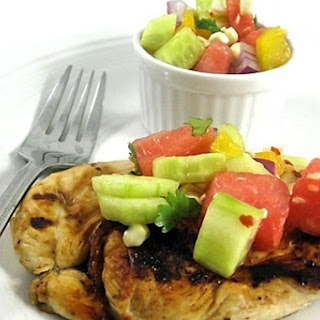 Skinny Lime Marinated Chicken with Homemade Watermelon Salsa