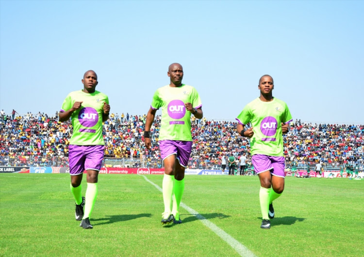 Match officials Athenkosi Ndongeni, Victor Hlungwani (Referee) and Lubabalo Pitsha during the Absa Premiership match between Black Leopards and Bloemfontein Celtic at Thohoyandou Stadium on September 16, 2018 in Thohoyandou, South Africa.