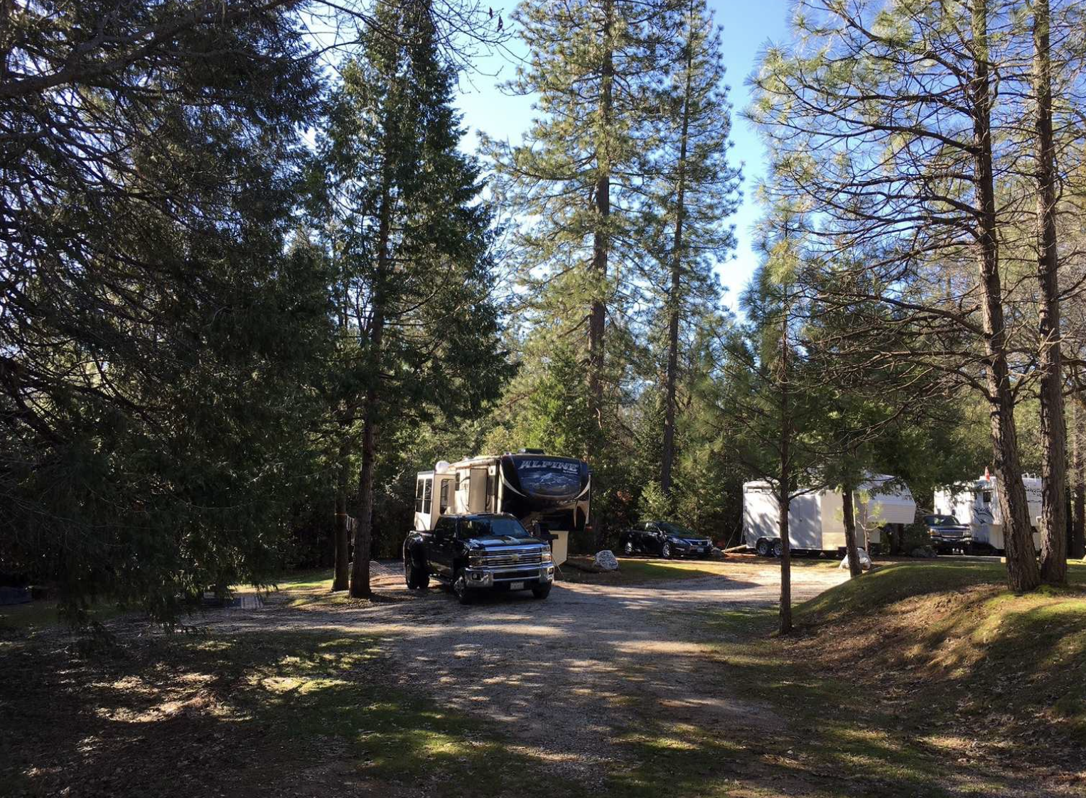 RV with truck parked in front in the woods at the campground.