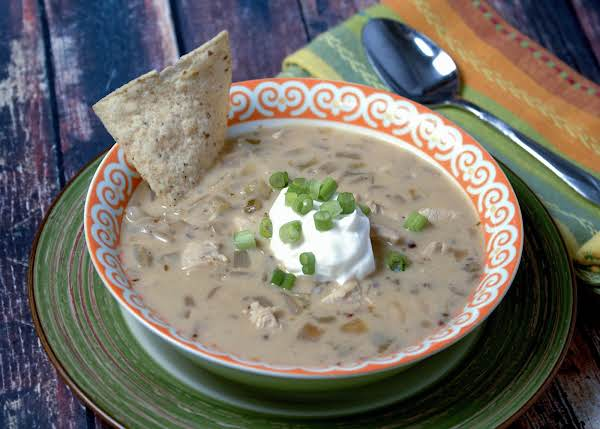 A Bowl Of Creamy Chicken, Lime, And White Bean Chili.