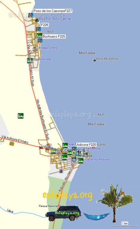 Mapa de Playas del Sector Adicora