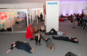 """Photo: TEDMED Washington DC, April 10-13, 2012.Philips attendees perform a """"flash nap"""" at our Social Space booth to bring awareness to the importance of Sleep."""