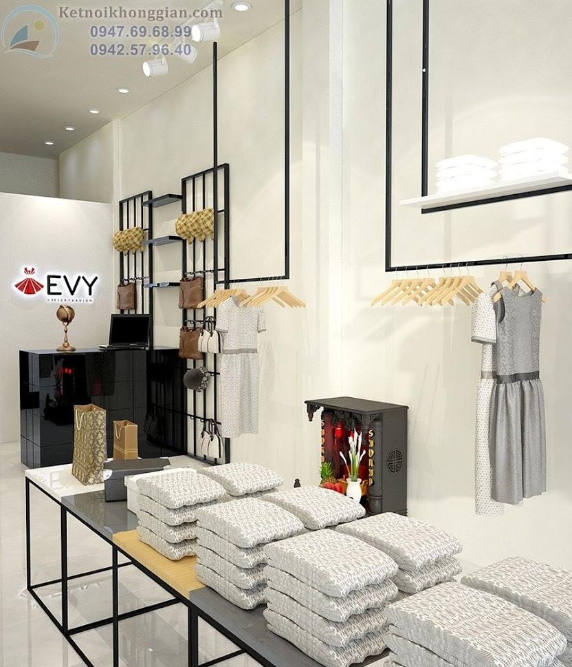 thiết kế cửa hàng thời trang công sở độc đáo hài hòa